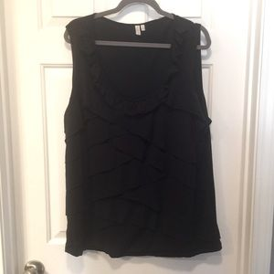Madison Woman Black Ruffled Layers Top
